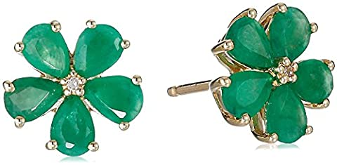 10k Yellow Gold Pear Shaped Emerald with Diamond Accent Flower Stud Earrings