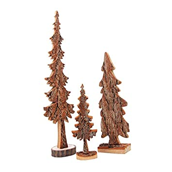 Holzdekoration Deko Holzbaum Im 3er Set Aus Massivholz Mit Naturrinde Tolle Dekoration Fr