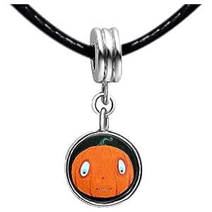 Chicforest Silver Plated Halloween pumpkin cartoon Photo Black Crystal Flower dangle Charm Beads Fits Pandora Charms