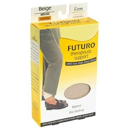 FUTURO Therapeutic Knee Length Stockings Open Toe Firm Medium Beige 1 Pair by Futuro