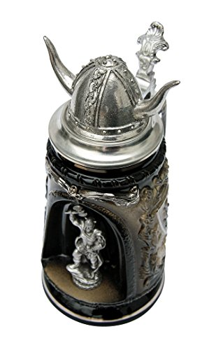 Viking Warrior In Grotto Beer Stein With Pewter Helmet Lid
