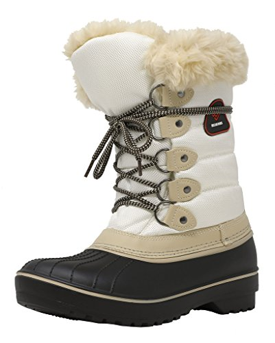 DREAM PAIRS Women's DP-Canada Beige White Faux Fur Lined Mid Calf Winter Snow Boots Size 9 M US