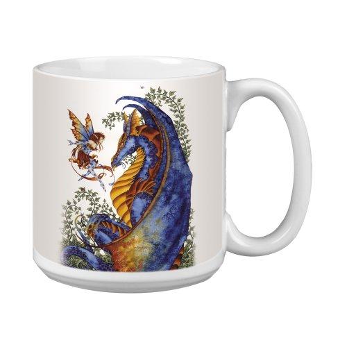 (Tree-Free Greetings XM27544 Amy Brown Artful Jumbo Mug, 20-Ounce, Fantasy Curiosity Dragon and Fairy)