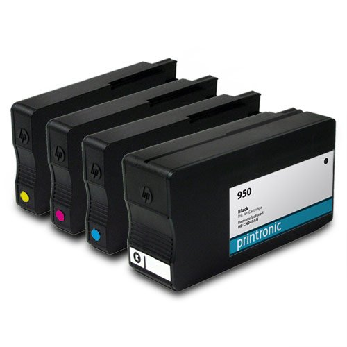 Printronic Remanufactured Ink Cartridge Replacement for HP 950 and HP 951(1 Black, 1 Cyan, 1 Magenta, 1 Yellow) - OfficeJet Pro 8100 8600