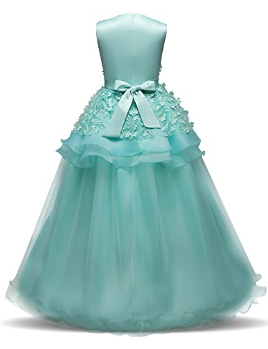 NNJXD Girl Sleeveless Embroidery Princess Pageant Dresses Prom Ball Gown Size (160) 11-12 Years Green