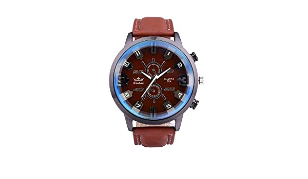 Amazon.com : XBKPLO Mens Quartz Watch, Retro Sport Luxury Large Dial Analog Mechanical Wrist Watches Leather Strap Fashion Jewelry Gift : Pet Supplies