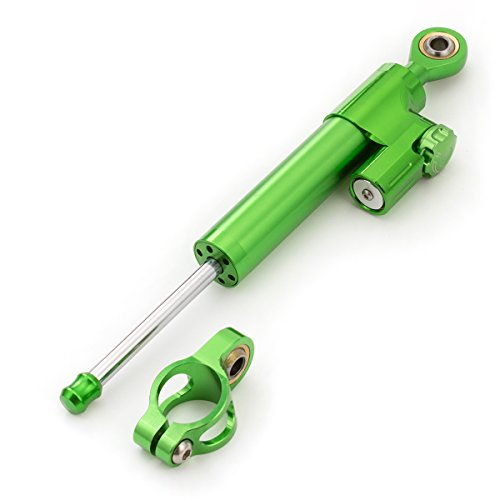 FXCNC Motorcycle Universal Steering Damper Stabilizer Linear Fit For Kawasaki ZX6R ZX10R ZX14R Z1000 Z800 Z750 NINJA 300 250R ZZR1400 All Green 1 PCS