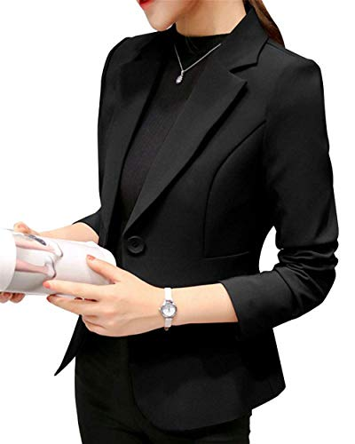 Puro Lunga Giubotto Formale Donna Colore Autunno Confortevole Da Slim Business Leisure Tailleur Schwarz Bavero Outwear Button Fit Suit Giacca Manica An7aw1x