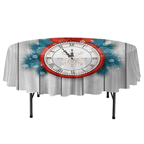 Clock Easy to Care for Leakproof and Durable Round tablecloths New Year Celebration Midnight A Clock and Fir Pine Tree Branch Illustration Outdoor Picnic D59 Inch Red and Pale Grey