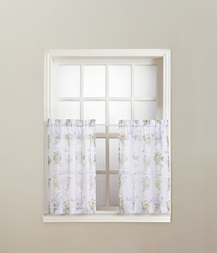 No. 918 Eve's Garden Floral Print Kitchen Curtain Tier Pair, 54