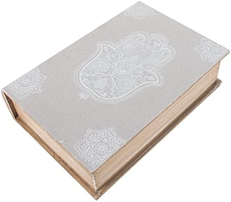Caja decorativa mano de Hamsa con forma de libro caja de madera en color gris: Amazon.es: Hogar