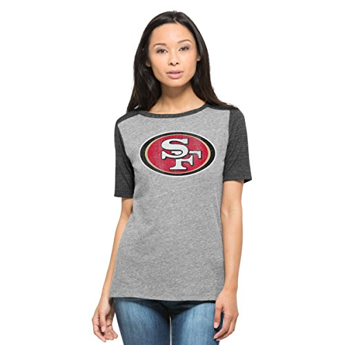 Empire Girls Shirt - '47 NFL San Francisco 49ers Women's Empire Tee, Medium, Vintage Grey