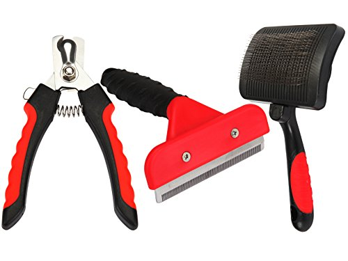 Pet Grooming Tool Kit | 3 Piece Box Set for Deshedding Dematting Pets | Dogs and Cats