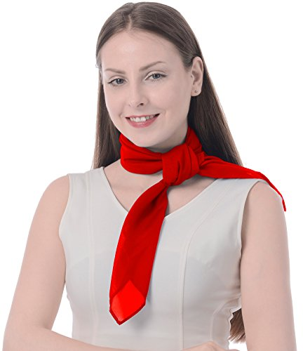 Red Scarf Neck in French Artist Mime 50's Costume Accessories Set Chiffon Sheer Square red -