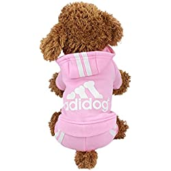 Idepet TM Adidog Pet Dog Cat Clothes 4 Legs Cotton Puppy Hoodies Coat Sweater Costumes Dog Jacket (XS, Pink)