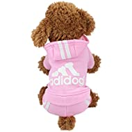 Idepet Cotton Adidog Dog Hoody, XS, Pink