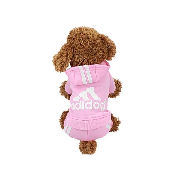 Idepet Cotton Adidog Dog Hoody, S, Pink