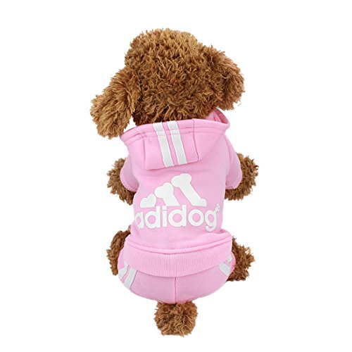 (Idepet(TM Adidog Pet Dog Cat Clothes 4 Legs Cotton Puppy Hoodies Coat Sweater Costumes Dog Jacket (XS, Pink))