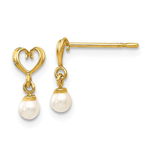(14k Yellow Gold Freshwater Cultured Pearl Heart Drop Dangle Chandelier Post Stud Earrings Love Fine Jewelry Gifts For Women For Her)