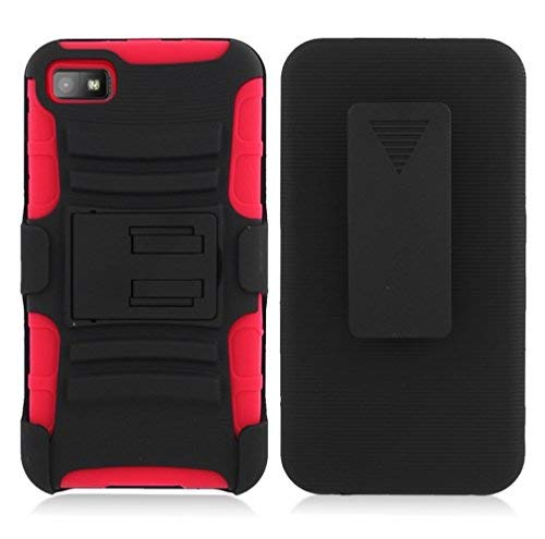online retailer 94000 c349c BlackBerry Z10 case, Luckiefind Dual Layer Hybrid Side Kickstand Cover Case  with Holster Clip with Stylus Pen Accessory (Holster Red)