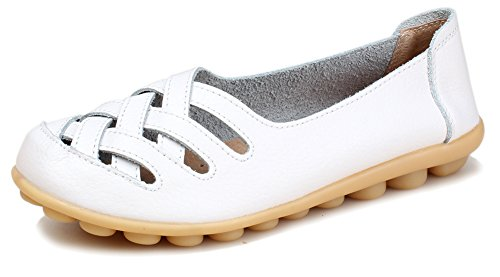Kunsto Women's Leather Loafer Shoes Slip On US Size 8 White-Hollow Out