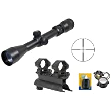 """Ultimate Arms Gear Tactical SKS 7.62x39 Rifle See Through Receiver Cover Replacement Scope Mount With 2-7x32 Rifle Duplex Sniper Reticle Scope With Included 7/8"""" Weaver-Picatinny Scope Rings"""