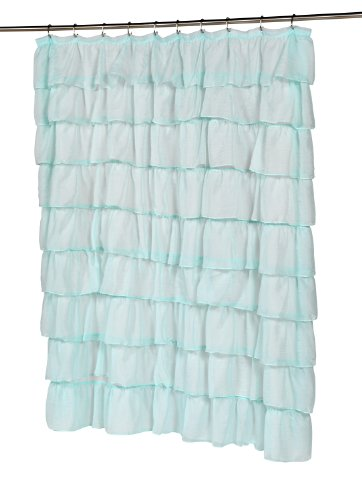 Carnation Home Fashions Carmen Crushed Voile Ruffled Tier Shower Curtain, 70-Inch by 72-Inch,Spa Blue (Ruffled Voile)
