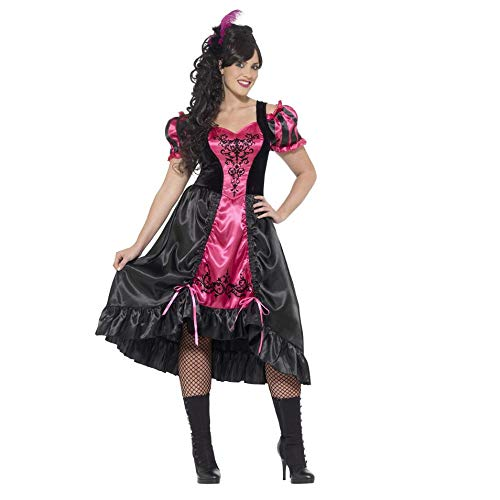 Smiffys Women's Wild West Saloon Girl Costume, Dress and Feather Hairclip, Western, Serious Fun, Plus Size 26-28, 26529]()