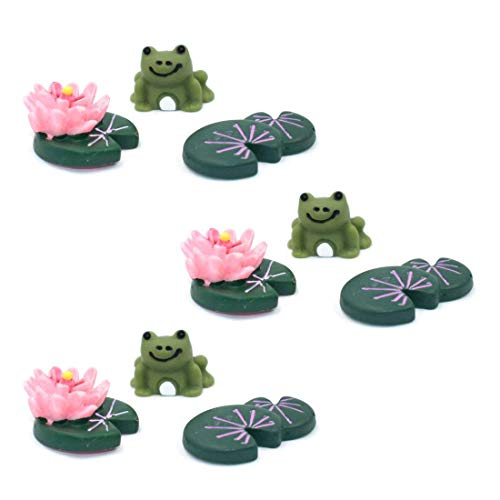 YEDREAM 3Sets Resin Frog Lotus Shape Miniature Statue Plant Pots Bonsai Craft Micro Landscape DIY Decor Garden Decoration Review