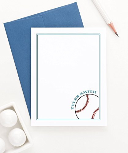 Personalized Stationery Kids (Baseball Personalized Stationery set, Boys Personalized Baby Shower Thank You Card Boys, Personalized Thank You Cards Kids, Your Choice of Colors, Set of 10 flat note cards and envelopes)