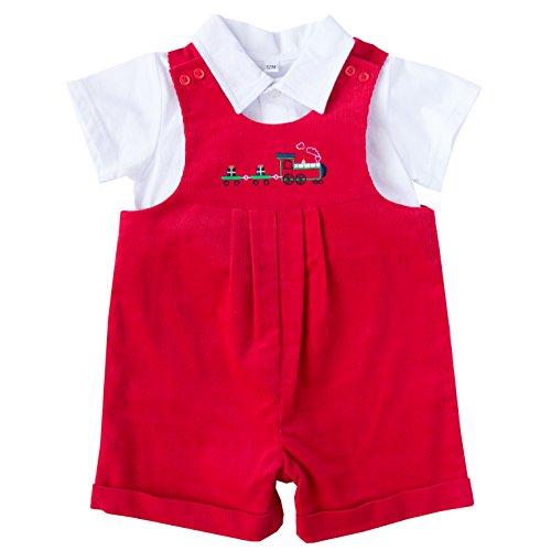 Boys Shortall (Good Lad Newborn/Infant Red Christmas Appliqued Shortall Set (18M))