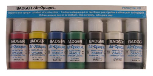 Badger Air-Brush Company Air-Opaque Airbrush Ready Water Based Acrylic Paint, Primary, 1-Ounce Each, Set of (Best Badger Air-brush Acrylic Paints)