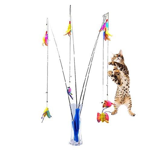 Latinaric Lustige Katze Spielzeug Angelrute Teleskopstange Spielen Stange