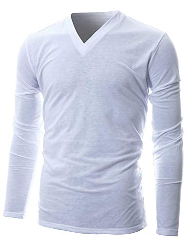 GIVON Mens Slim Fit Soft Cotton Long Sleeve Lightweight Thermal V-Neck T-Shirt/DCP043-WHITE-M