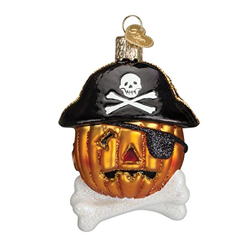 Old World Christmas Pirate Pumpkin Glass Blown Ornament (Pirate Christmas Ornament)
