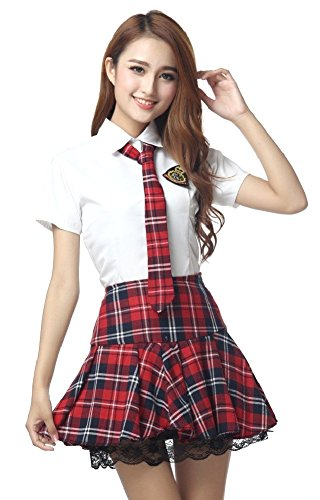 SPJ: Japanese High School Girl Classic Red Tartan Plaid Uniform Set (XL) (School Teacher Costume)
