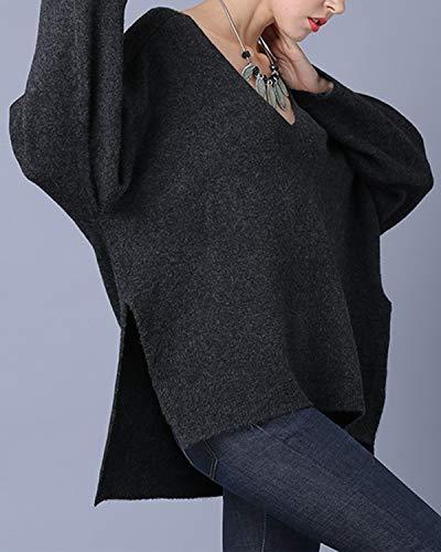 V Black Pullover Lunga V Con A Scollo Manica Colore Solido Wuzifu qaxYv0dY