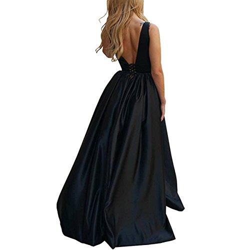 Abendkleider Lang für Rückenfrei Elegant Hochzeit Damen linie A Ballkleid Fuchsia Hochzeitsgäste LuckyShe yCS5OfS