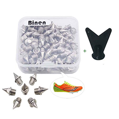 "Binen Track Spikes 1/4"" Length Pyramid Shoes Spike Replacement Stainless Steel for Track Sprint Cross Country with Free Wrench,110 Pieces"