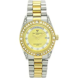 Izax Valentino watch analog display date display day of the week Gold IVG-1000-3 Men's