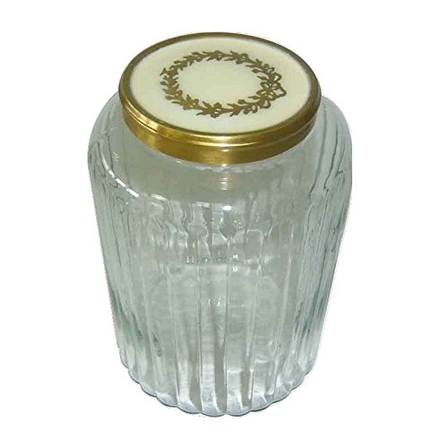 (Better & Best 1226937 Textured Glass Pot, Striped, with White Lid and Golden Decorated with Crown of Laurel )
