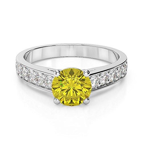 Or blanc 18carats 1CT G-H/VS sertie de diamants ronds Cut Saphir Jaune et bague de fiançailles Agdr-1202