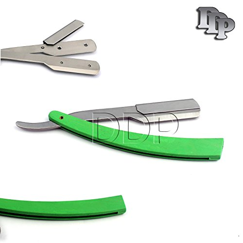 DDP MANUAL FOLDING SHAVING KNIFE BEARD CUTTER SHAVER STRAIGHT EDGE BARBER RAZOR GREEN UP TO 22 BLADES (SET OF 11 BLADES)