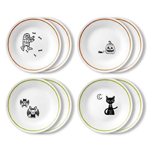 Halloween Dishes For Dinner (Corelle Chip Resistant Appetizer Plate, 8-Piece, Party)