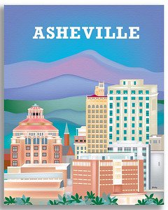 Asheville, North Carolina - Retro Travel Wall Art - retro wall decor