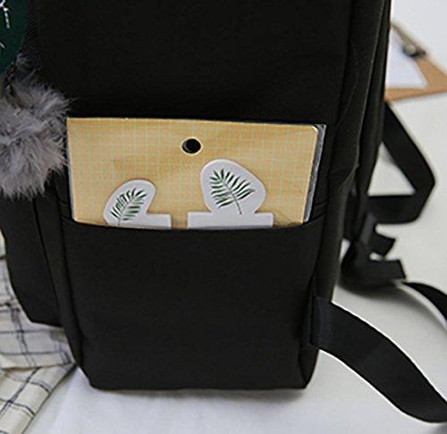 Solike Commencer de Peluche L'école D'école Portable à Sac à Balle Mode Noir Sac Randonnée Femme Fille Cartable Tissu Avec en D'ordinateur Dos Sac Voyager en Scolaire Dos Oxford rHr6anW