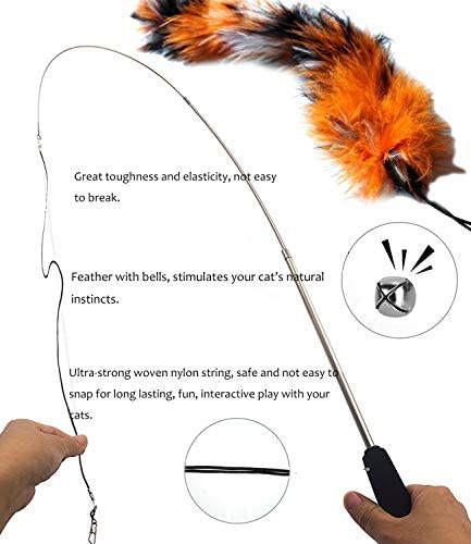 PETOY Cat Toys Set, Cat Retractable Teaser Wand, Catnip Fish, Interactive Cat Feather Toy, Mylar Crincle Balls, Two Cotton Mice, Two Fluffy Mouse 3