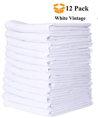 (Linen and Towel 12 Pack Vintage Exclusive Flour-Sack Towels, 28 Inch x 28 Inch White, Ring Spun Cotton, 130 Thread Count Multi-Purpose Kitchen Napkin, Super Absorbent Flour-Sack Dish Towels)