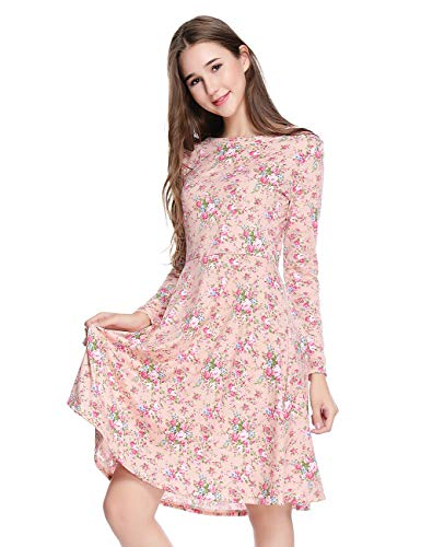 Yostylish Long Sleeve Vintage Floral Print Boho Slim Dress US 8