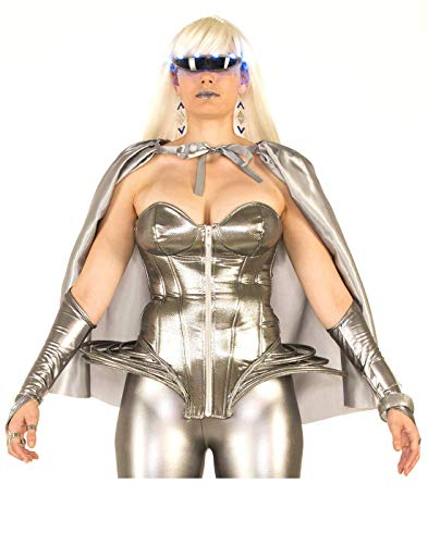 Forum 75203_STD-SV-Standard Women's Molten Metal Corset Top Adult Costume, Standard, Silver, Pack of ()